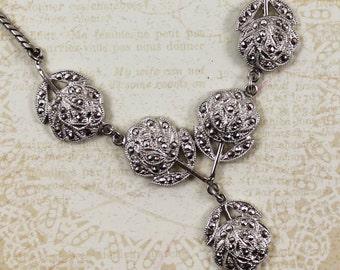 Vintage Theda Marcasite Sterling Silver Flower Necklace