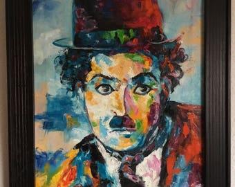 """Pop Art, Charlie Chaplin """"Charlot"""", 30cmX40cm Expressionism/abstract,, art a palette, knife art, oil and canvas, Pop Art"""