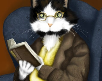 Tuxedo Cat Art, Cat Reading Book, Wearing Glasses 5x7 Fine Art Print