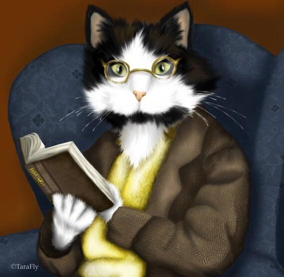 Mr Bennet Tuxedo Cat 5x7 Fine Art Print