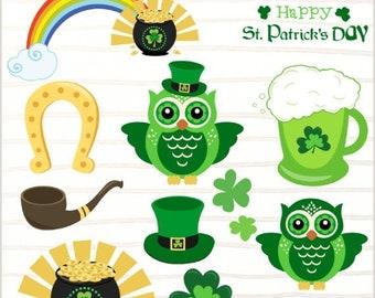 50%OFF St. Patrick's Day clipart,horseshoe, shamrock, rainbow clipart, leprechaun, St. Patrick clover,lucky Irish clipart, St Patricks day