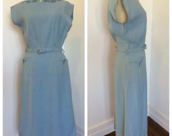 1950s sky blue linen wiggle dress sz S-M