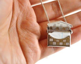 Antique Silver Envelop Locket - Silver Necklace