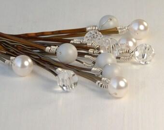 White and Silver Pearl Bobby Pins, Bridal Bobby Pins, Set of 12 Swarovski Pearl & Crystal on Bronze Hair Pin, Wedding Hair, The Frost Set