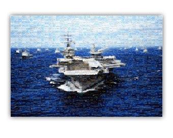 Air Craft Carrier Photo Mosaic Poster