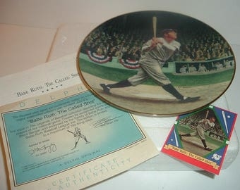 1992 Babe Ruth The Called Shot Plate w COA Foam Box