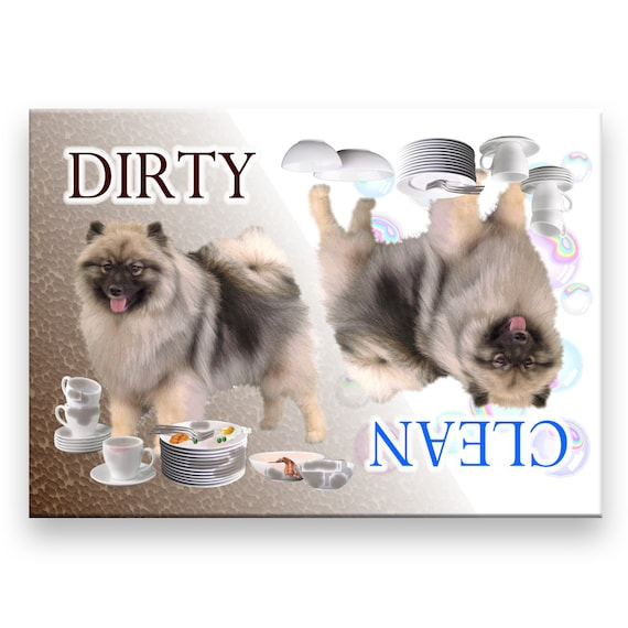 Keeshond Clean Dirty Dishwasher Magnet
