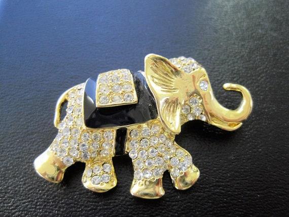 Elephant Brooch, Rhinestone Covered, Black Enamel Highlights