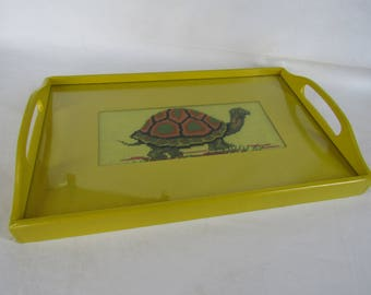 Vintage bright yellow tray with turtle needlepoint insert