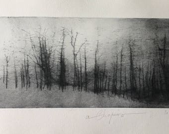 Missing a presence... Contemporary print of trees, dry point etching