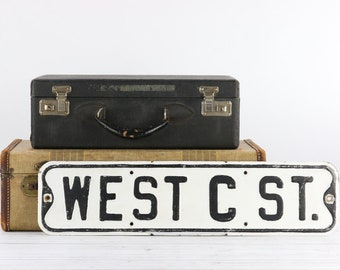 Street Sign Vintage Street Sign Metal Street Sign Old Street Sign West C St. White And Black Street Sign Rustic Decor Industrial Decor