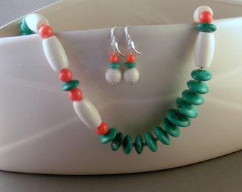 """Synthetic Turquoise, Bone & Coral - """"Cabana"""" set"""