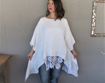 upcycled white Lagenlook clothing tunic top recycled Boho 1 X Bohemian gypsy beach Wearable Art sustainable reclaimed LillieNoraDryGoods