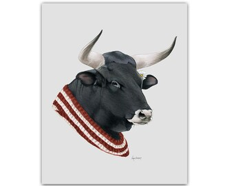 Bull print 5x7 - Animal art - Animal prints - Farm Animals - Dapper Animals - Cow - Ferdinand relative - Ryan Berkley - Berkley Illustration