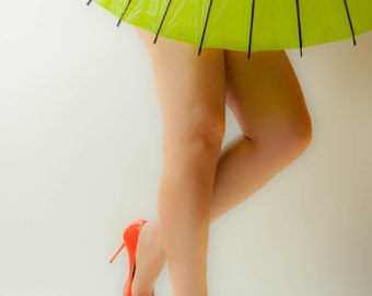 """Attractive Legs in Heels - """"Two Foot Parasol"""" (9.5"""" x 13.25"""" Print on 14"""" x 18"""" Board) Limited Edition Fine Art Photograph"""