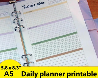 Today's Plan, Daily Planner Inserts , A5 Daily Planner Inserts, Daily schedule, Daily Planner Pages,  - Instant Download