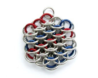 Chain Maille Pendant, Patriotic Pendant, American Jewelry, Mini Dragonscale Pendant, Jump Ring Jewelry