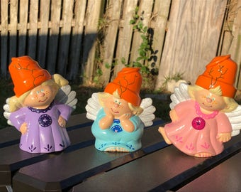 Hand Painted Ceramic - 3 Flower Pot Angels