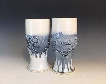 Handmade Slip Trailed Water goblets, Wine Goblets, Tumblers