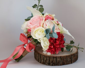Ivory Coral Fuschia Pink Wedding Bouquet Charm Alternative