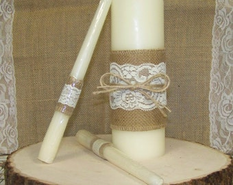 Unity Candles, Wedding Unity Candles, Wedding Decor, 3 Wedding Candles for Candleholders-Bride-Groom-Rustic-Burlap-Decorative-lace