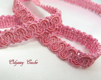 Pink Braided Decorator narrow 1/2 inch quality gimp trim by the yard