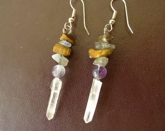 These stones, rock crystal point earrings