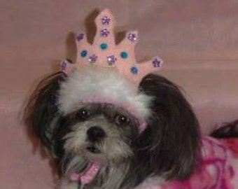 PRINCESS Crown - TIARA pet hat with jewels - 2 to 20 lb dog or cat - NEED measurement