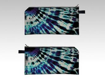Tie Dye Blue Purple Pencil Case-Zipper Pouch-Pencil Pouch-Cosmetics Pouch-Cosmetics Case