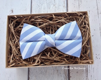 Men's bow tie, boys' bow tie, dusty blue and white striped bow tie