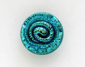 Iridescent Blue Spiral Molded Glass Shank Button, 18 mm, For Jewelry Makers and Craftworkers