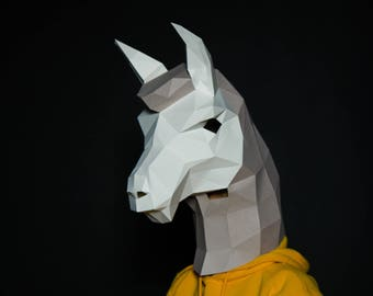 Lama Mask, Llama Mask, Alpaca Mask, Halloween Paper Mask, Animal Mask,