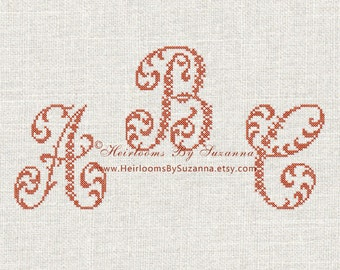 Large Floral Cross Stitch Monogram Design Set - Machine Cross Stitch Font - Antique Ornamental Monogram - Vintage - 26 Initials - HBS-ORN-2