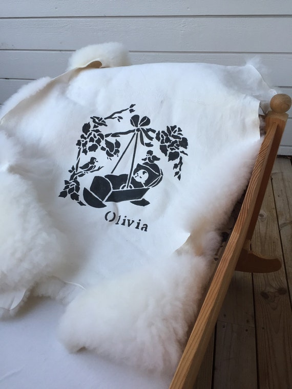 Baby rug cradle rug sheepskin pelt with infant print and personalized name print birth gift infant celebration