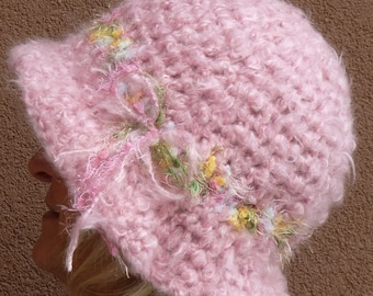 Soft pink winter hat with a brim, like an Easter bonnet, original and unique pink crochet hat, soft and warm with style, a gift for her