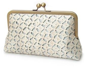 Bridal clutch purse, ivory, cream, blue wedding clutch bag, printed silk lace, bridesmaid gift, ANGELICA