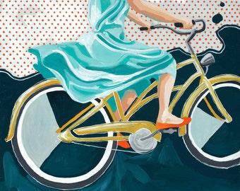 Bike Babe on Yellow Bike 12x12 print on high quality semi gloss archival paper