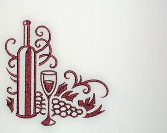 Wine glass motif embroidered quilt label to customize with your personal message