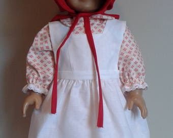 American Pioneer Dress, Apron and Bonnet for 18 Inch or AG Caroline Doll