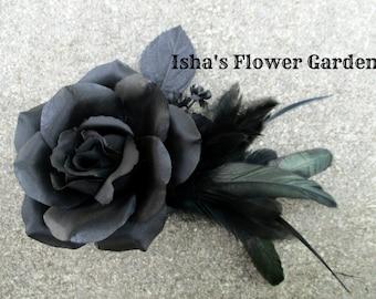 black rose hair flower clip, hair flower, black hair flower, pin up, black feather fascinator