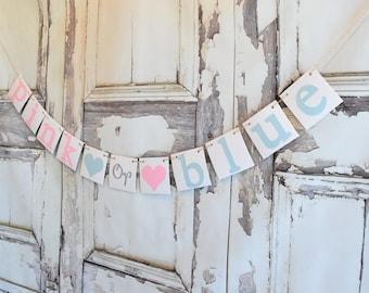 Baby Shower Banner, Boy or Girl baby,Gender Reveal Decorations,Gender Reveal Banner, Pink or Blue ?, Gender Reveal Party, Gender Reveal Idea