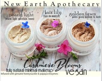VEGAN Mineral Veil & Foundation Hybrid | Honeysuckle infused Organic mineral powder foundation, Natural makeup | Vegan mineral makeup powder
