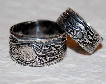 His and Hers Wedding Rings set Tree Bark bands ecofriendly