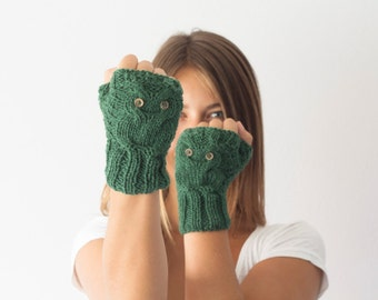 Sales Green texting gloves with owl pattern fingerless gloves wrist warmers mittens gift for her womens knit gloves half finger