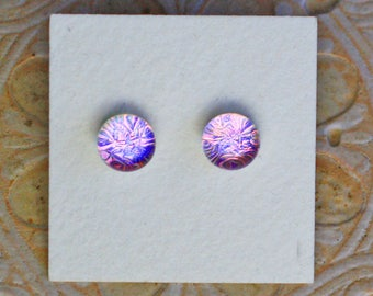 Dichroic Glass Earrings , Pink Violet DGE-1255
