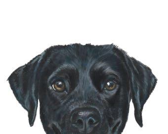 Black Labrador Retriever, Black Lab Art, Black Lab Gift, Smiling Lab