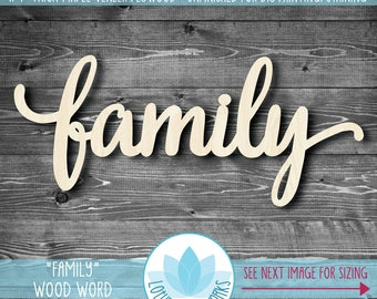 Large Wood Word - Family, Gallery Wall Wooden Words, Large Wooden Word Signs, Word Art Home Decor