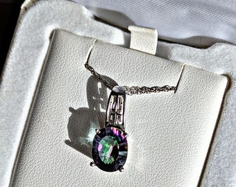 Mystic Fire Topaz Necklace set in Sterling Silver