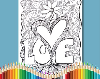 Coloring Pages for Adults Love Flower Instant Download