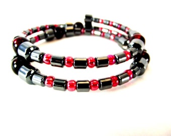 Red and Gray Beaded Bracelet